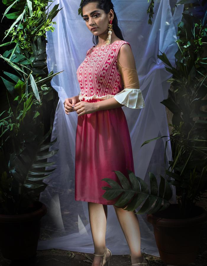 Rose Spritzer- Knee length dress with Cold-shoulder net & pleats