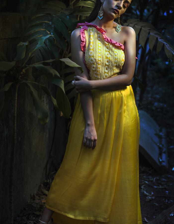 Mango daiquiri- One shoulder slit Maxi dress
